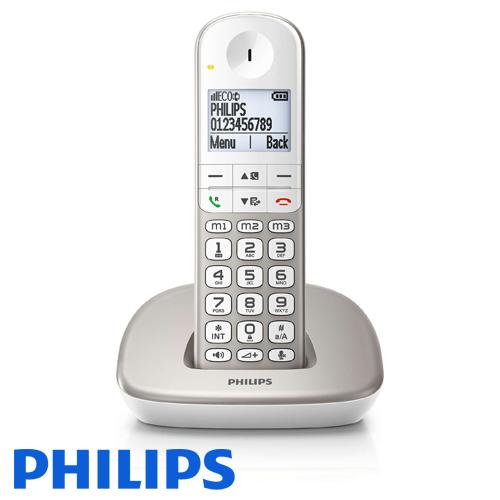 ברצינות טלפון אלחוטי Philips XL4901S תואם לכבדי שמיעה וראיה בצבע כסוף ולבן HU-72