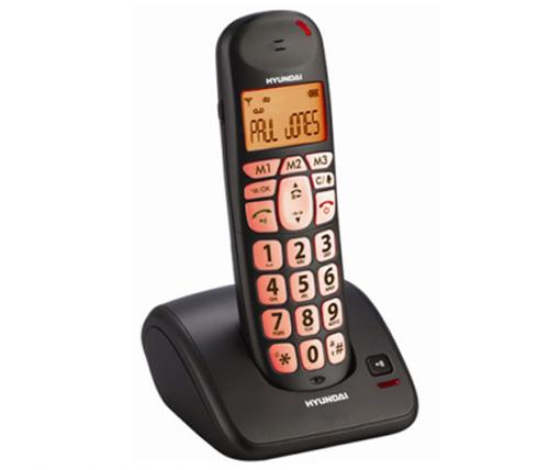 מעולה טלפון אלחוטי דיגיטלי Hyundai HDT-L100 שחור לכבדי שמיעה XL-73