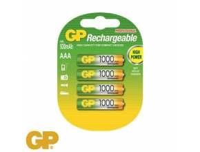 סוללות RECHARGEBLE AAA 1000 mAh 4 GP