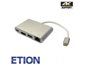מתאם USB Type C ETION זכר ל-HDMI ,USB 3.0 ורשת RJ45 נקבה