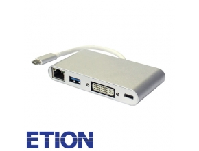 מתאם USB 3.0 + MULTI + DVI + TYPE C ל TYPE C זכר ETION