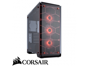 מארז מחשב Corsair Crystal Series 570X RGB בצבע אדום ושקוף