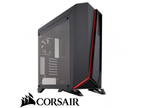 מארז מחשב Corsair Carbide Series® SPEC-OMEGA Tempered Glass בצבע שחור ואדום