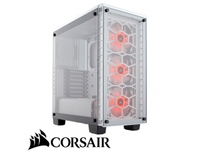 מארז מחשב Corsair Crystal Series 460X RGB בצבע לבן ושקוף