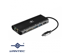 מתאם Vantec VLink USB-C 5-In-1 Multi-Port CB-CU300MDSH USB Type-C To USB 3.0/ HDMI / RJ45 / SD