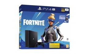 קונסולה Sony PlayStation 4 Pro 1TB תומך 4K בצבע שחור הכוללת משחק Fortnite - אחריות היבואן הרשמי PS4 Pro